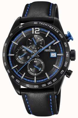 Festina Mens Sport Chronograph Black Leather Strap Black Dial F20344/4
