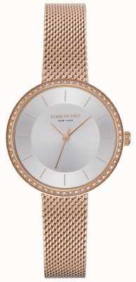 Kenneth Cole Womens Diamond Set Rose Gold Mesh Watch KC50198004