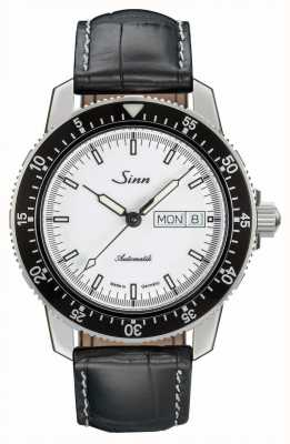 Sinn 104 St Sa I W Classic Pilot Watch Alligator Embossed Leather 104.012 BLACK EMBOSSED LEATHER