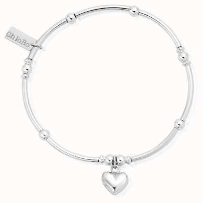 ChloBo Sterling Silver Mini Noodle Ball Puffed Heart Bracelet SBMNB023