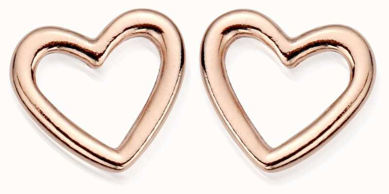 ChloBo Rose Plated Stud Open Heart Earrings REST533
