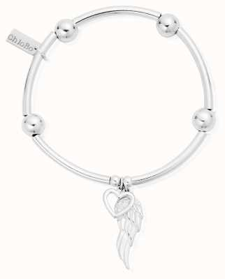 ChloBo Silver Noodle Ball Open Heart & Angel Wing Bracelet SBNB007703