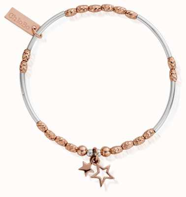 ChloBo Rose And Silver Double Star Bracelets MBMNSR739