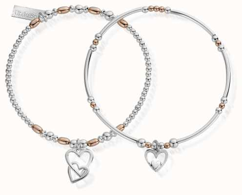 ChloBo Rose And Silver Double Devotion Set Of 2 Bracelets MBSET572732