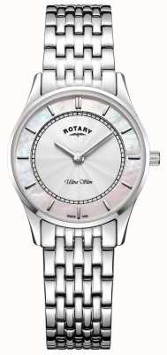 Rotary Womens Ultra Slim Silver Tone Bracelet Mother Of Peal Dial LB08300/07