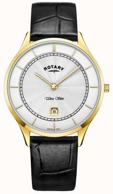 Rotary Mens Ultra Slim Black Leather Strap Watch GS08303/02