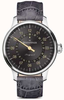 MeisterSinger Perigraph Automatic Anthracite Grey Croc Print Strap AM1007OR