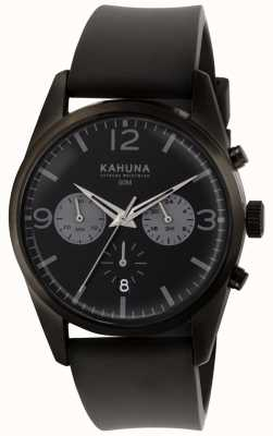 Kahuna Mens Black Chronograph Dial Black Rubber Strap KCS-0010G