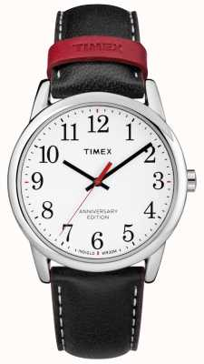 Timex Mens Easy Reader 40th Anniversary Black Red Leather Strap TW2R40000