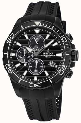Festina Men's Black PVD-Plated Chrono Watch Rubber Strap F20369/1
