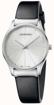 Calvin Klein Classic Black Leather Strap Silver Dial K4D221C6