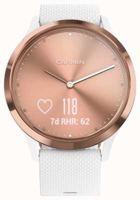 Garmin Vivomove HR Activity Tracker White Rubber Rose Gold Dial 010-01850-02