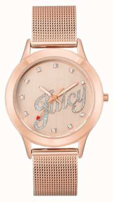 Juicy Couture (no box) Womens Rose Gold Tone Mesh Bracelet Juicy Script JC-1032RGRG