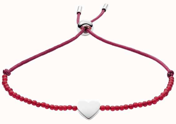 Fossil Red Cord And Bead Heart Bracelet JF02981040