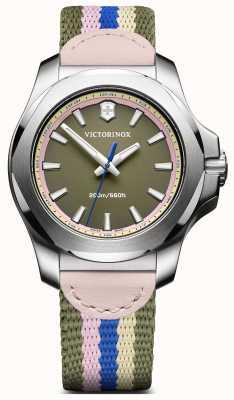 Victorinox Swiss Army Women's INOX V Khaki Pink Blue Cream Stripe Strap 241809