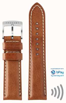 Kronaby bPay 22mm Brown Leather Contactless Payment Strap Only A1000-3359