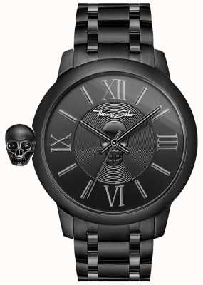 Thomas Sabo Mens Rebel With Karma Black IP Stainless Steel Skull Watch WA0305-202-203