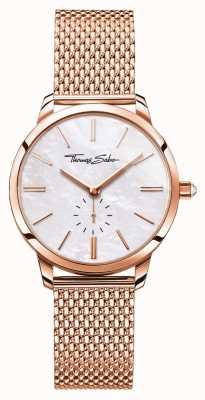 Thomas Sabo Women's Glam Spirit Rose Gold Tone Mesh Bracelet White Dial WA0303-265-213-33