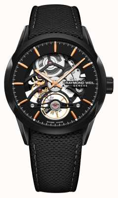 Raymond Weil Mens Freelancer Automatic Skeleton Black Leather Strap 2785-BC5-20001