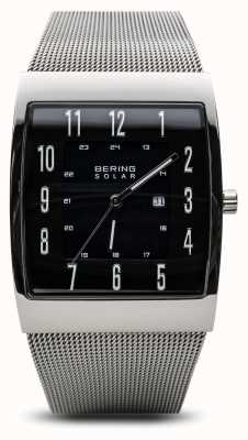 Bering Mens Solar Polished Silver Square Mesh Bracelet Watch 16433-002