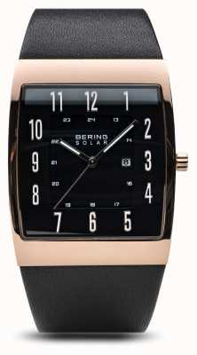 Bering Mens Solar Polish Rose Gold Case Black Leather Strap 16433-462