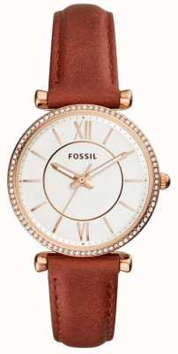 Fossil Womens Carlie Brown Leather Strap White Dial ES4428