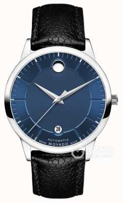 Movado Mens 1881 Automatic Blue Dial Black Leather Strap 0607020
