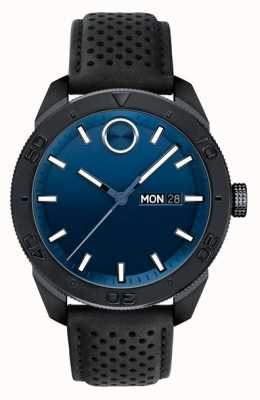Movado Mens Bold Blue Dial Black Perforated Leather Strap 3600495