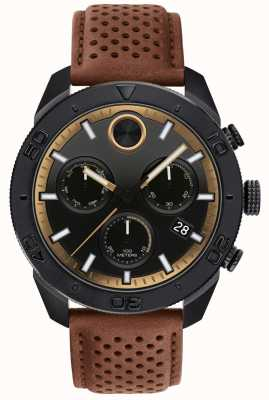 Movado Mens Bold Chronograph Perforated Brown Leather Strap 3600515