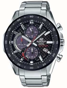 Casio Edifice Retrograde Black/Red Carbon Dial Solar Date Chrono EFS-S540DB-1AUEF
