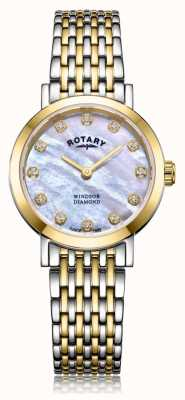 Rotary Womens Windsor Diamond Date Two Tone Bracelet Watch LB05301/41/D