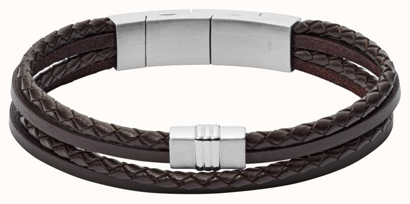 Fossil Mens Brown Leather Bracelet With Stainless Steel JF02934040