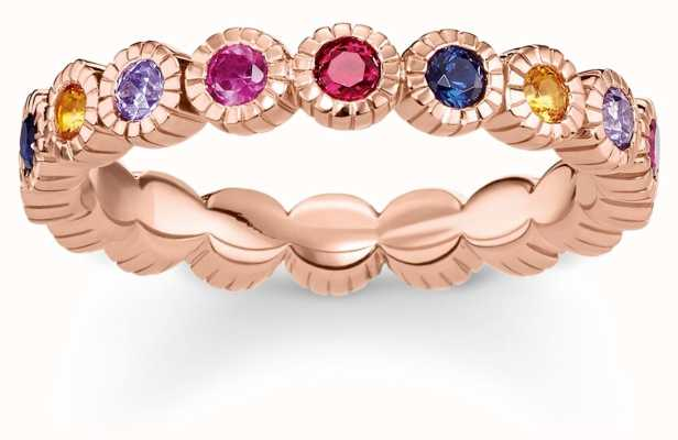 Thomas Sabo Rose Gold Plated Multi-coloured Stone Ring 54 TR2148-068-7-54