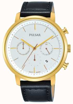 Pulsar Mens Gold Plated Case Black Leather Strap Dated Chronograph PT3938X1