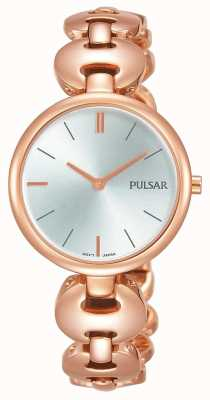 Pulsar Ladies Rose Gold Plated Watch Silver Dial PM2268X1