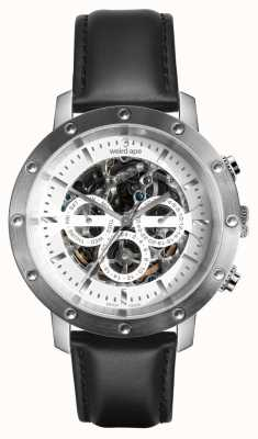 Weird Ape Icarus 3 Dial White Silver/ Black Leather Strap WA02-005740