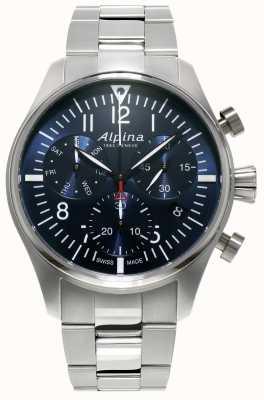 Alpina Mens Startimer Pilot Chronograph Quartz Stainless Steel AL-371NN4S6B