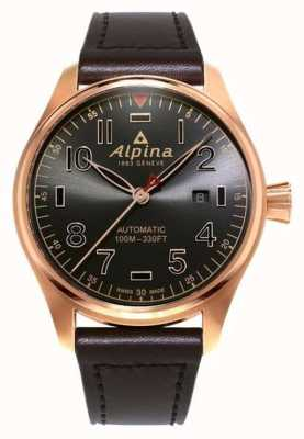 Alpina Mens Startimer Pilot Automatic Brown Dial Brown Leather AL-525GG4S4