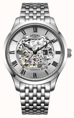 Rotary Men's Greenwich Stainless Steel Bracelet Skeleton Watch GB02940/06