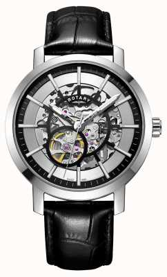 Rotary Men's Greenwich Black Leather Strap Skeleton Watch GS05350/02