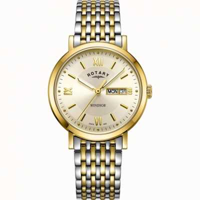 Rotary Mens Windsor Watch | Two-Tone Stainless Steel Strap | GB05301/09