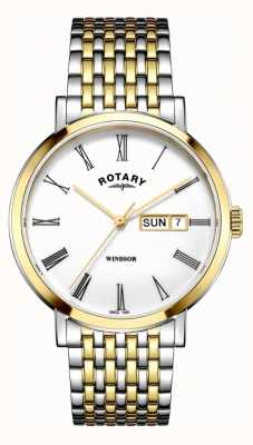 Rotary Mens Windsor Two Tone Silver And Gold Watch GB05302/01