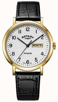 Rotary Mens Windsor Black Leather Strap Gold Tone Case GS05303/18