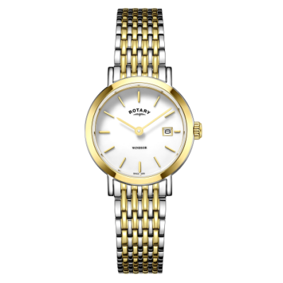 Rotary Womens Windsor Two Tone Gold And Silver Bracelet Watch LB05302/01