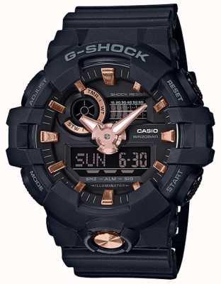 Casio G-Shock Analogue Digital Navy Rubber Rose Gold Watch GA-710B-1A4ER