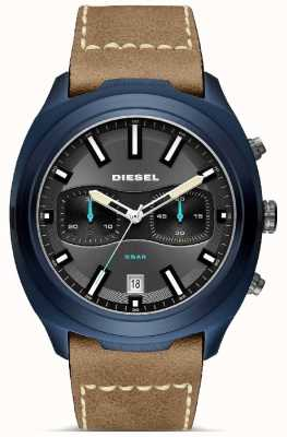 Diesel Mens Tumbler Blue Case Brown Leather Strap Watch DZ4490