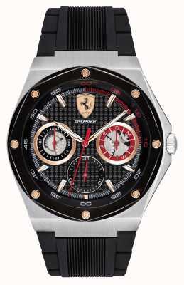 Scuderia Ferrari Mens Aspire Black Rubber Strap Gold Accents Date Display 0830556