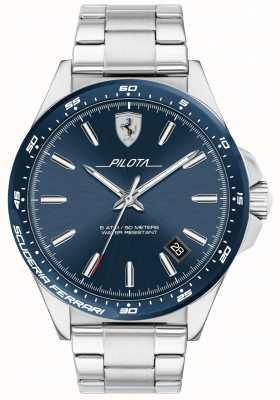 Scuderia Ferrari Mens Pilota Stainless Steel Blue Dial 0830527