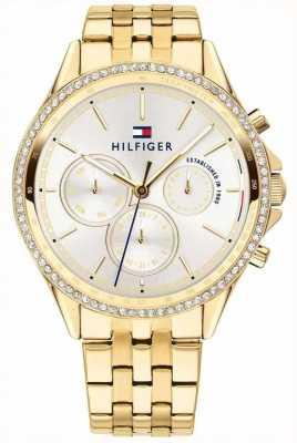 Tommy Hilfiger Ari | Gold PVD Steel Bracelet | Crystal Set | Silver Dial 1781977