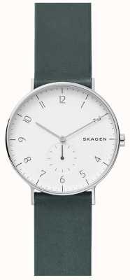 Skagen Mens Aaren Green Leather Strap Watch SKW6466